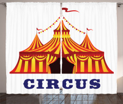 Sirk Çadırı Desenli Fon Perde Sarı Kırmızı