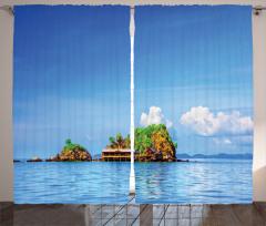 Yalnız Ada Fon Perde Deniz Mavi Yeşil