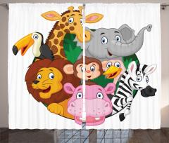 Sevimli Hayvanlar Alemi Fon Perde Zebra Aslan Zürafa Maymun