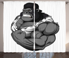Goril Desenli Fon Perde Goril Desenli Gri Siyah