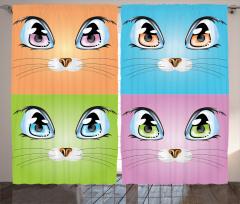 Kedi Gözü Desenli Fon Perde Kedi Mavi Turuncu Yeşil