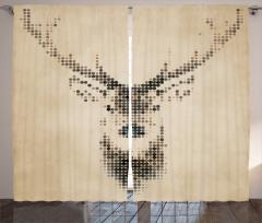 Geyik Figürlü Fon Perde Geyik figürü Modern Sanat