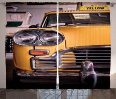 Nostaljik Sarı Taksi Fon Perde Klasik