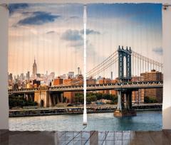 Klasik Köprü Manzaralı Fon Perde New York
