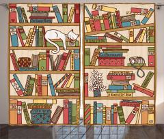 Kitaplıkta Uyuyan Kedi Fon Perde Trend
