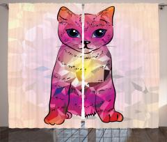Şık Kedi Desenli Fon Perde Modern Sanat Mor