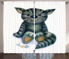 Sevimli Kedi Desenli Fon Perde Sevimli Kedi Desenli