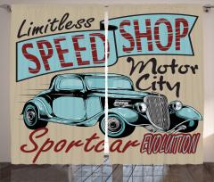 Retro Araba Desenli Fon Perde Şık Tasarım