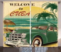 Küba ve Klasik Araba Fon Perde Retro