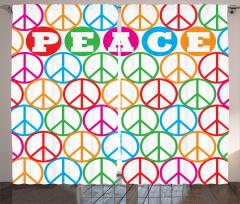 Barış Sembolü Desenli Fon Perde Rengarenk