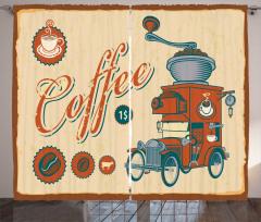 Nostaljik Kafe Desenli Fon Perde Kahverengi