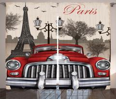 Paris ve Kırmızı Araba Fon Perde Şık