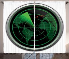 Uçak Radarı Fon Perde Siyah Yeşil