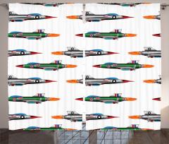Renkli Savaş Uçakları Fon Perde Renkli Savaş Uçakları