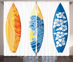 Sörf Tahtası Desenli Fon Perde Rengarenk