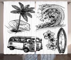 Sörf ve Minibüs Desenli Fon Perde Kara Kalem