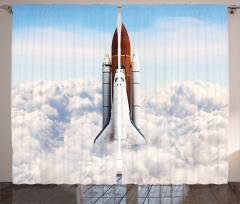 Uzay Mekiği Desenli Fon Perde Astronot Beyaz
