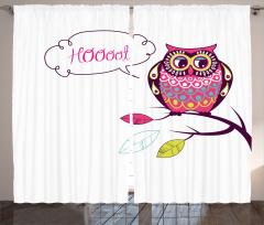 Sevimli Baykuş Desenli Fon Perde Rengarenk Şık Trend