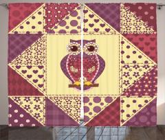 Geometrik Baykuş Fon Perde Romantik Çeyizlik Sarı