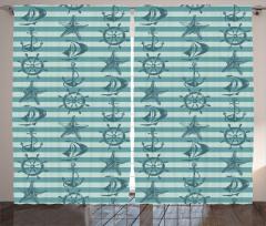 Mavi Denizcilik Desenli Fon Perde Şeritli
