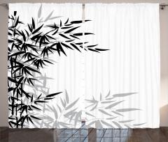 Bambu Yaprağı Desenli Fon Perde Siyah Beyaz