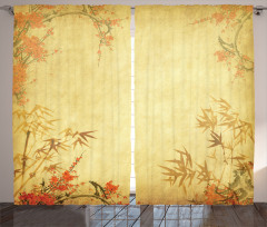 Antik Temalı Fon Perde Bambu Yaprağı Desenli
