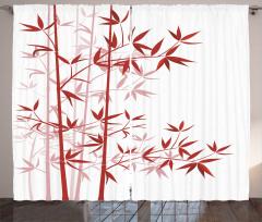 Bambu Desenli Fon Perde Kırmızı Beyaz Ağaç