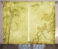 Kuş ve Bambu Desenli Fon Perde Yeşil Şık