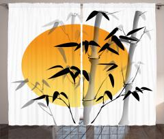 Güneş ve Bambu Desenli Fon Perde Şık Tasarım