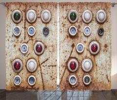 Nostaljik Fon Perde Rengarenk Düğmeler Trend