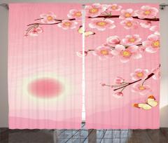 Kiraz Çiçekleri Desenli Fon Perde Pembe Şık