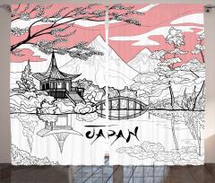 Japonya Temalı Fon Perde Kiraz Çiçekleri