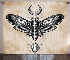 Kelebek Desenli Fon Perde Kuru Kafa Bej