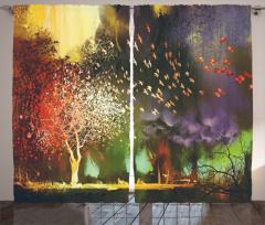 Sonbahar Temalı Fon Perde Rengarenk Ağaç Kuş