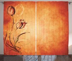 Çiçek Desenli Fon Perde Nostaljik Turuncu