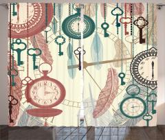 Saat ve Anahtar Temalı Fon Perde Nostaljik