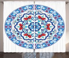 Çini Desenli Fon Perde Mavi Şık Tasarım