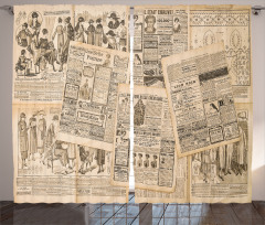 Antik Reklam Temalı Fon Perde Gazete Moda