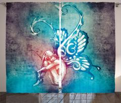 Peri Temalı Fon Perde Kelebek Kanat Mavi