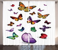 Uçan Kelebek Desenli Fon Perde Çeyizlik Şık
