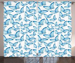 Kelebek Desenli Fon Perde Mavi Şık Tasarım