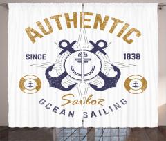 Denizcilik Temalı Fon Perde Nostaljik Çapa