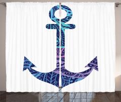 Mavi Çapa Desenli Fon Perde Deniz Gemi Beyaz
