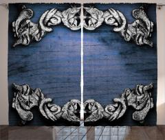 Sanat Etkili Fon Perde Barok Gotik Lacivert