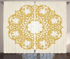 Şık Çiçekler Fon Perde Barok Otantik Sarı Bej