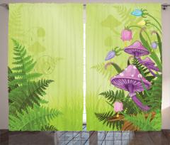 Sihirli Mantar Temalı Fon Perde Çiçek Pembe