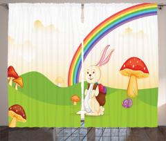 Paskalya Fon Perde Gökkuşağı Tavşan