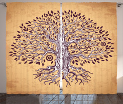 Ağaç Desenli Fon Perde Şık Tasarım Çeyizlik
