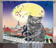 Müzisyen Kedi Desenli Fon Perde Sarı Mavi Şık