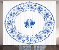 Nostaljik Çiçekler Fon Perde Nostaljik Mavi Çiçekler